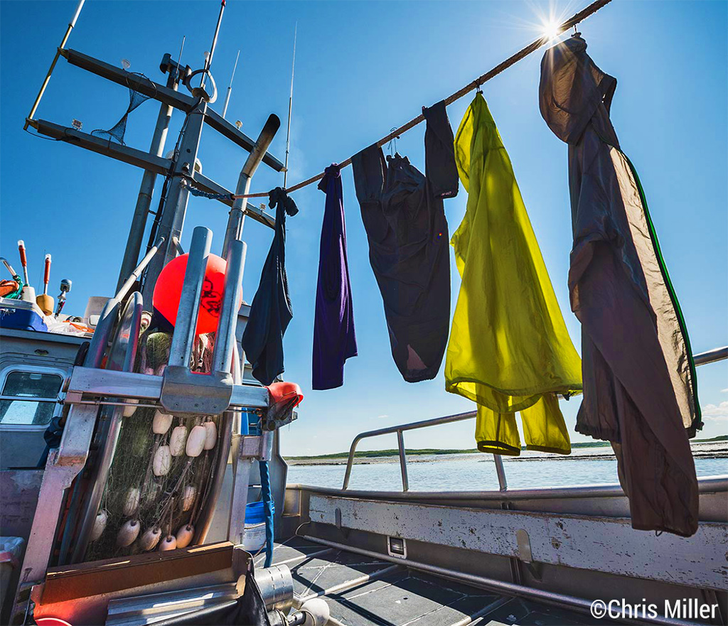 With the Egegik fishing district closed down for July 3rd, the crew of the F/V Icy Bay takes advantage of some rare sunny weather to do a little laundry.