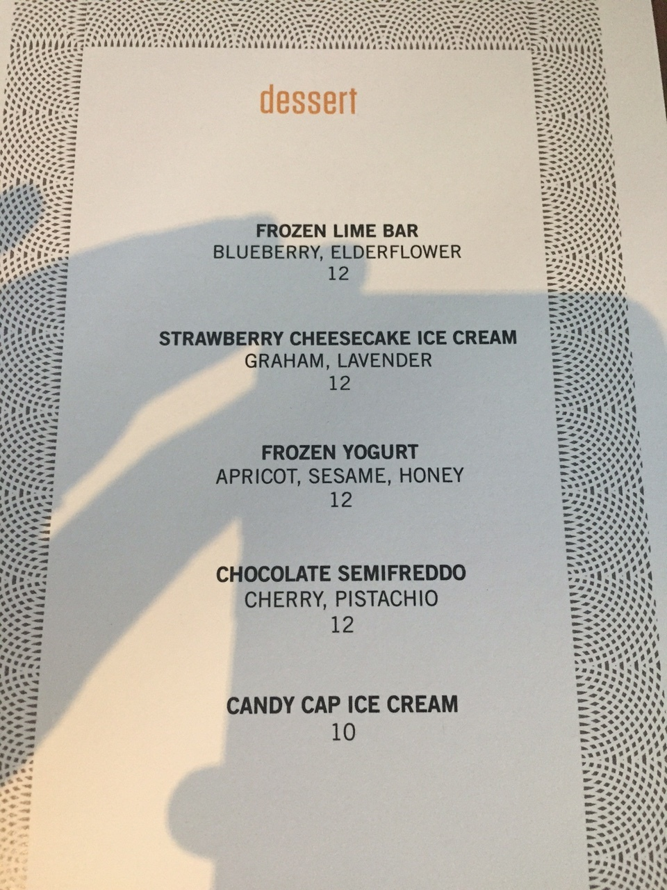 Dessert Menu Night 1