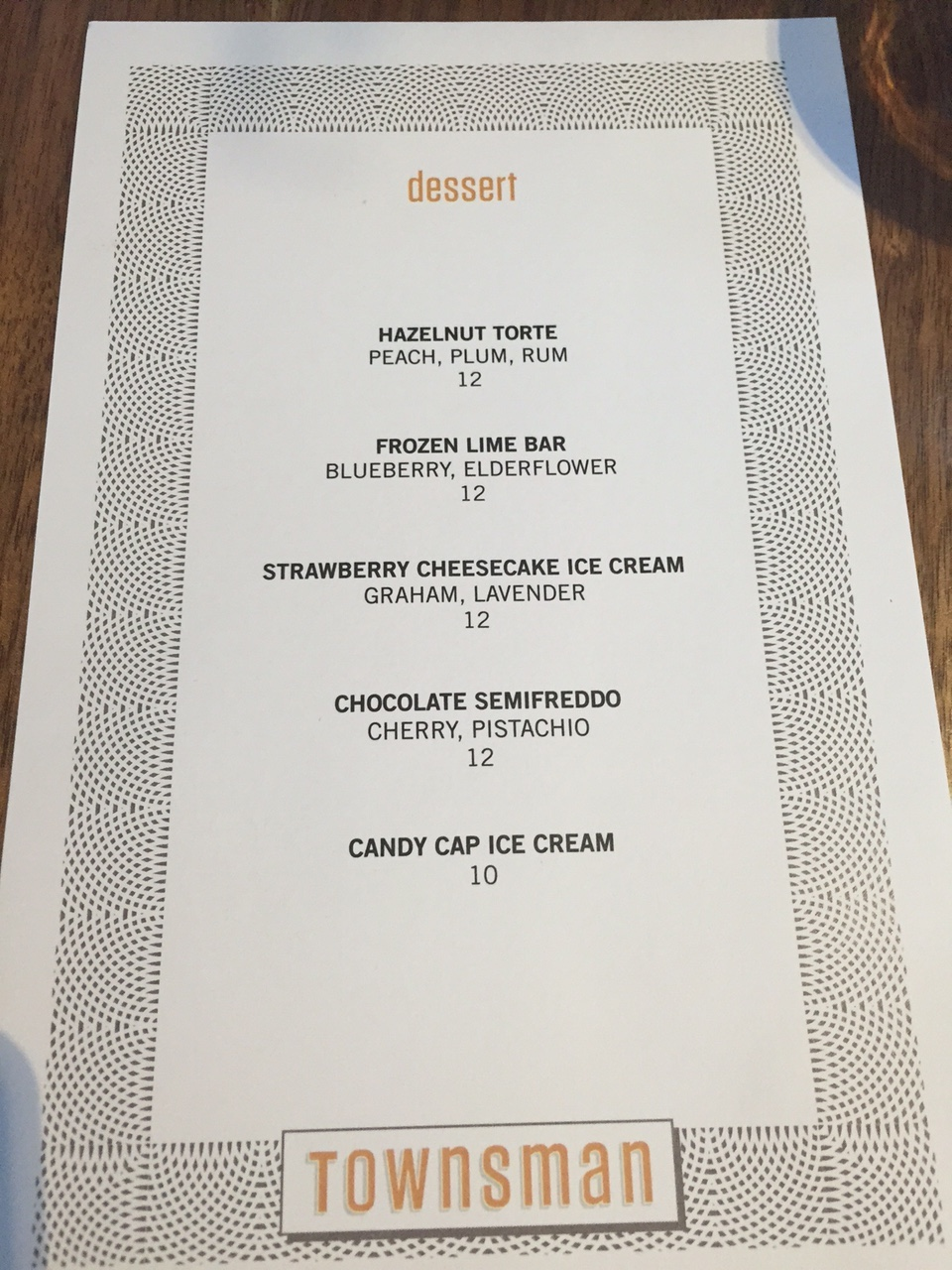 Dessert Menu Night 2