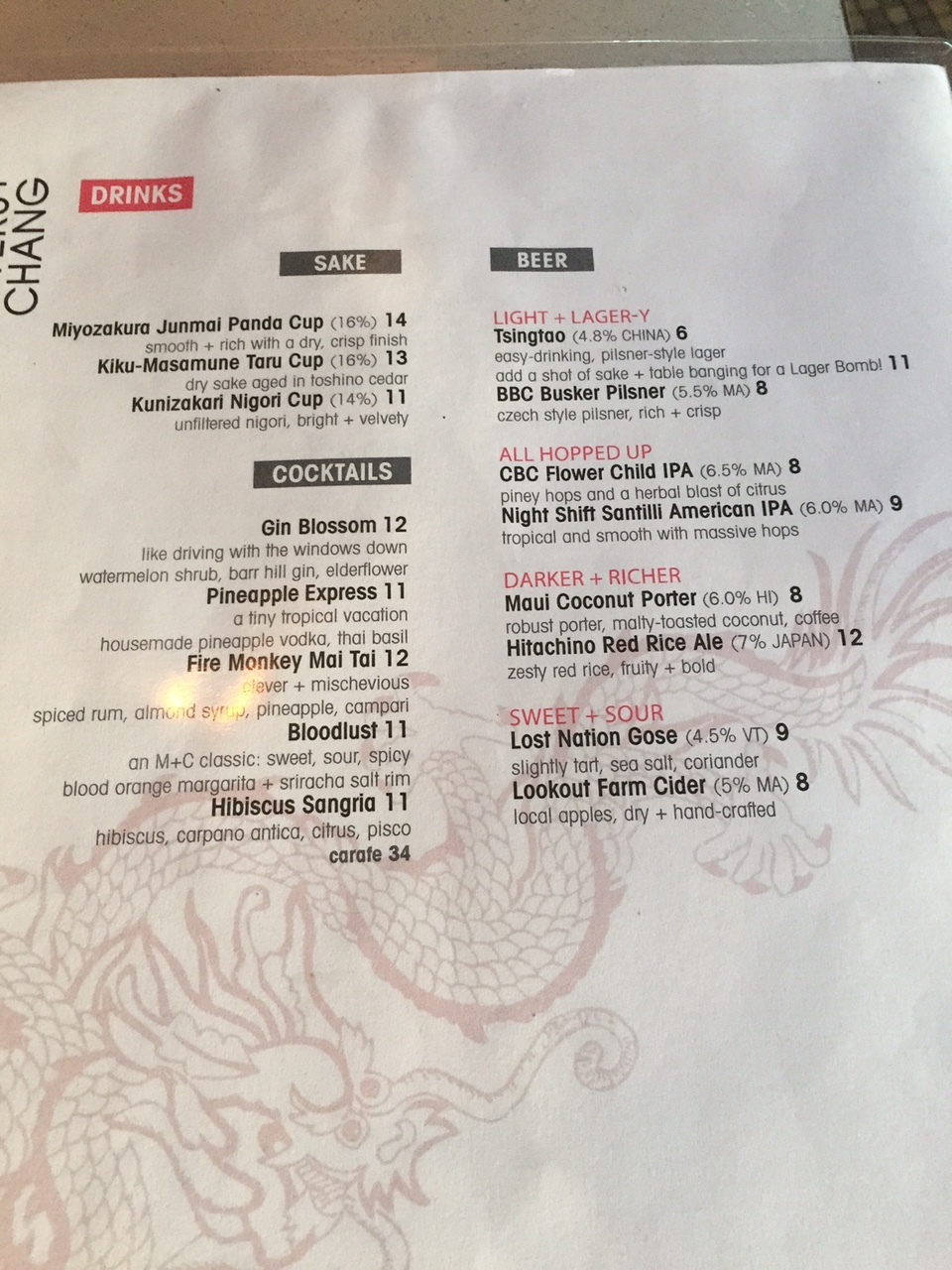 Alcohol Menu
