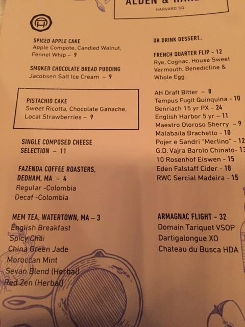 Dessert & After Dinner Drink