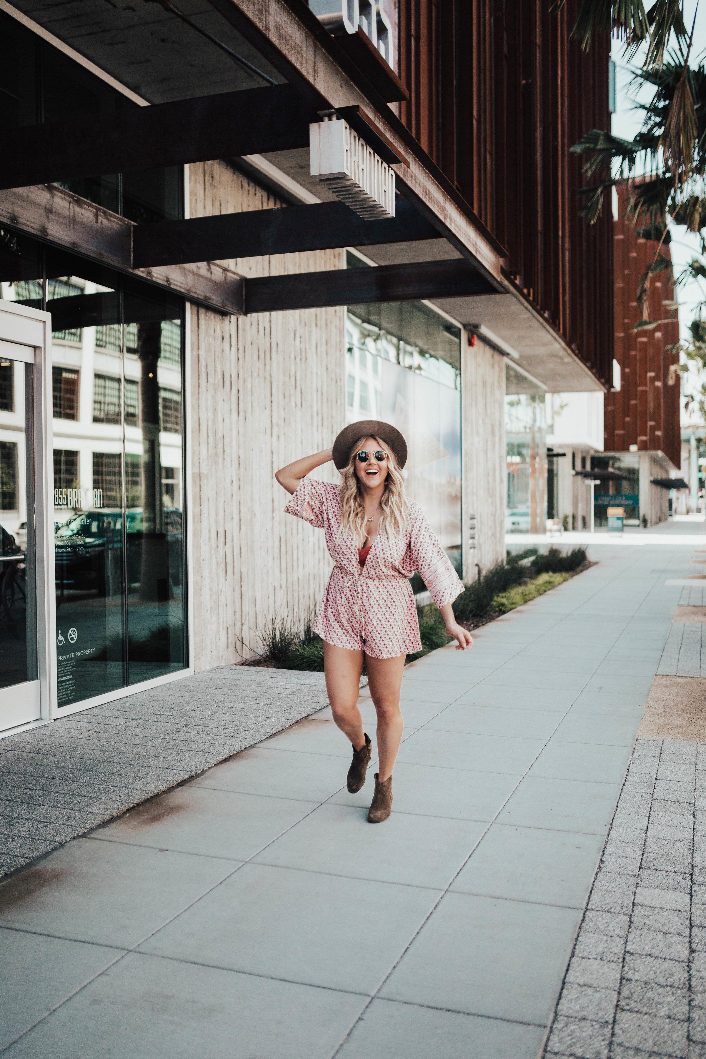 via Thea Festival Romper, boots and Janessa Leone Hat