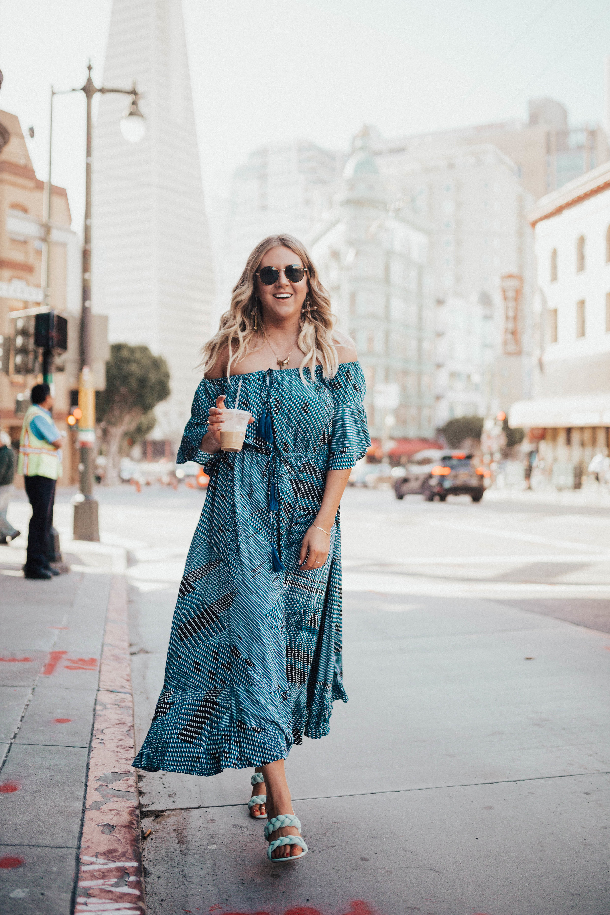 via Thea: Off the shoulder blue SheIn dress, BP sunnies