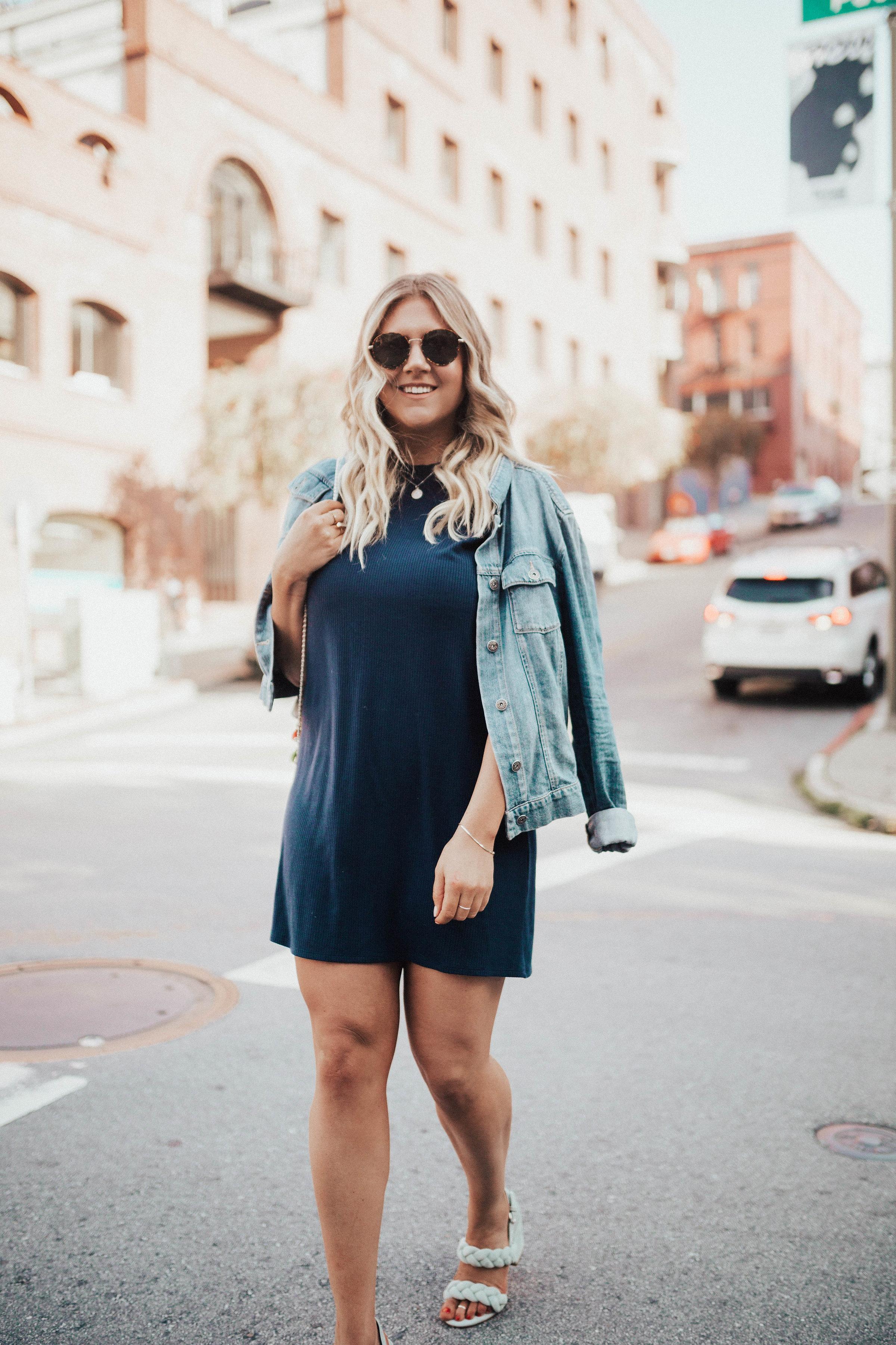 via Thea Reformation Dress, Paige Denim Jacket, Rebecca Minkoff Heels