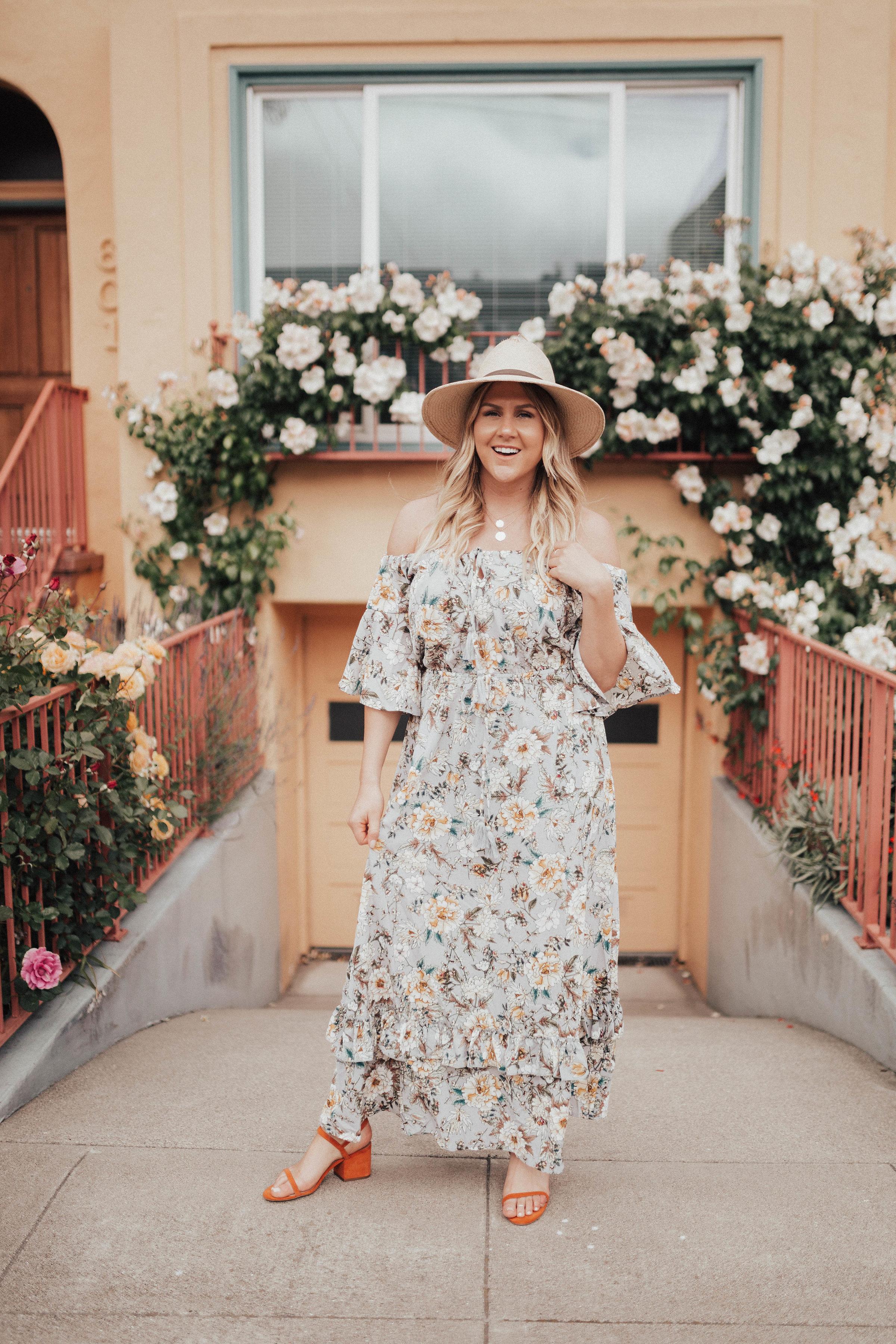 via thea floral dress under $25 janessa leone hat, matisse sandals, serefina necklace