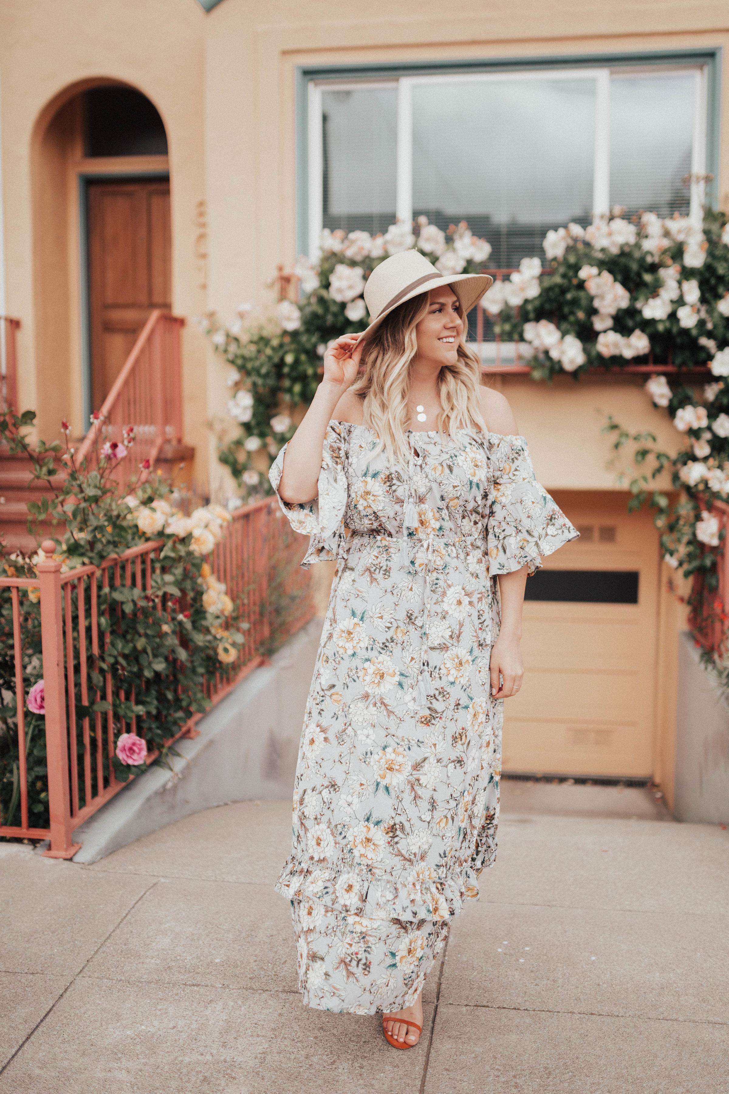 via thea floral dress under $25 janessa leone hat, matisse sandals, serefina necklace & earrings