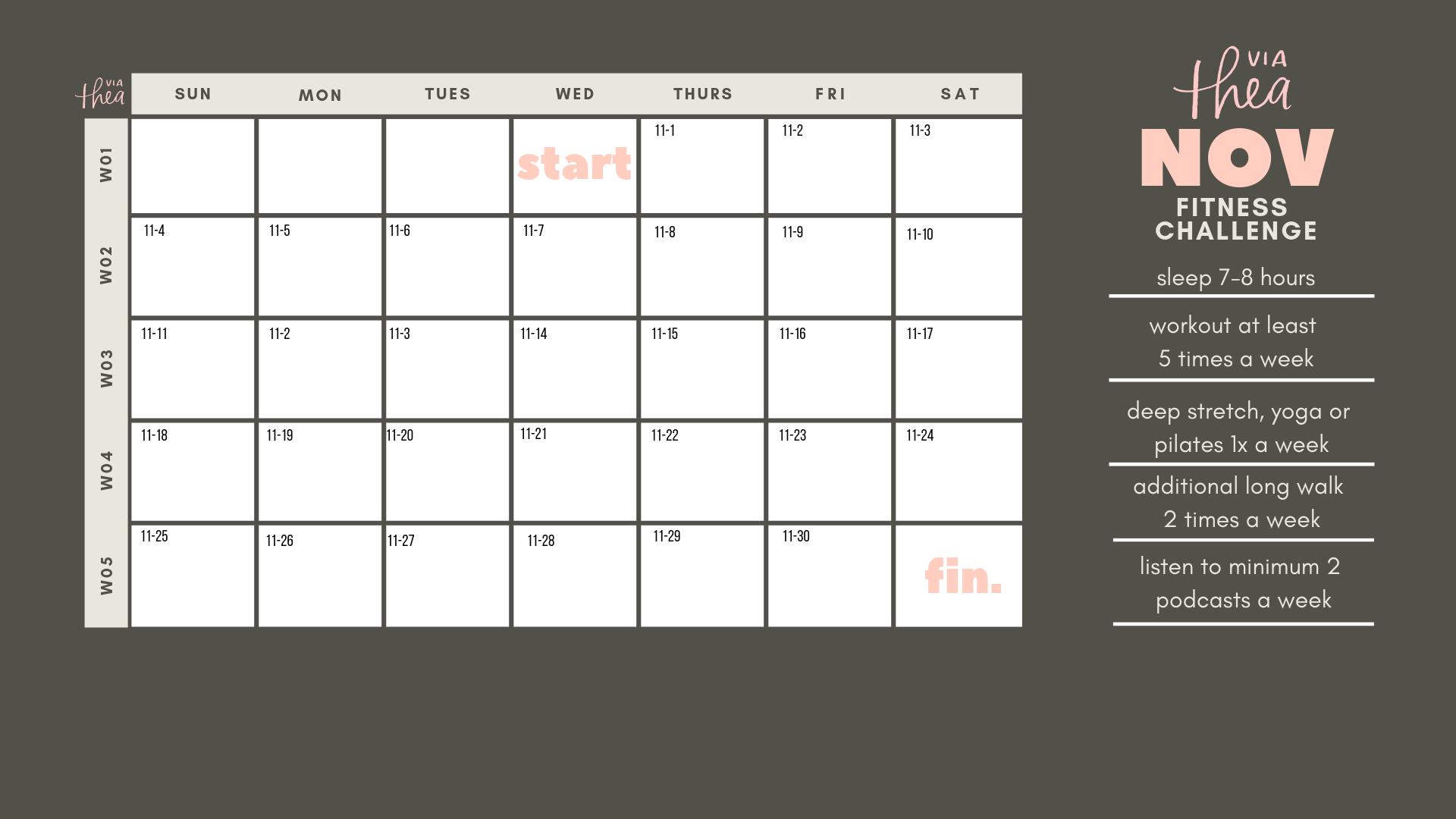 via Thea November 2018 Goal Setting calendar