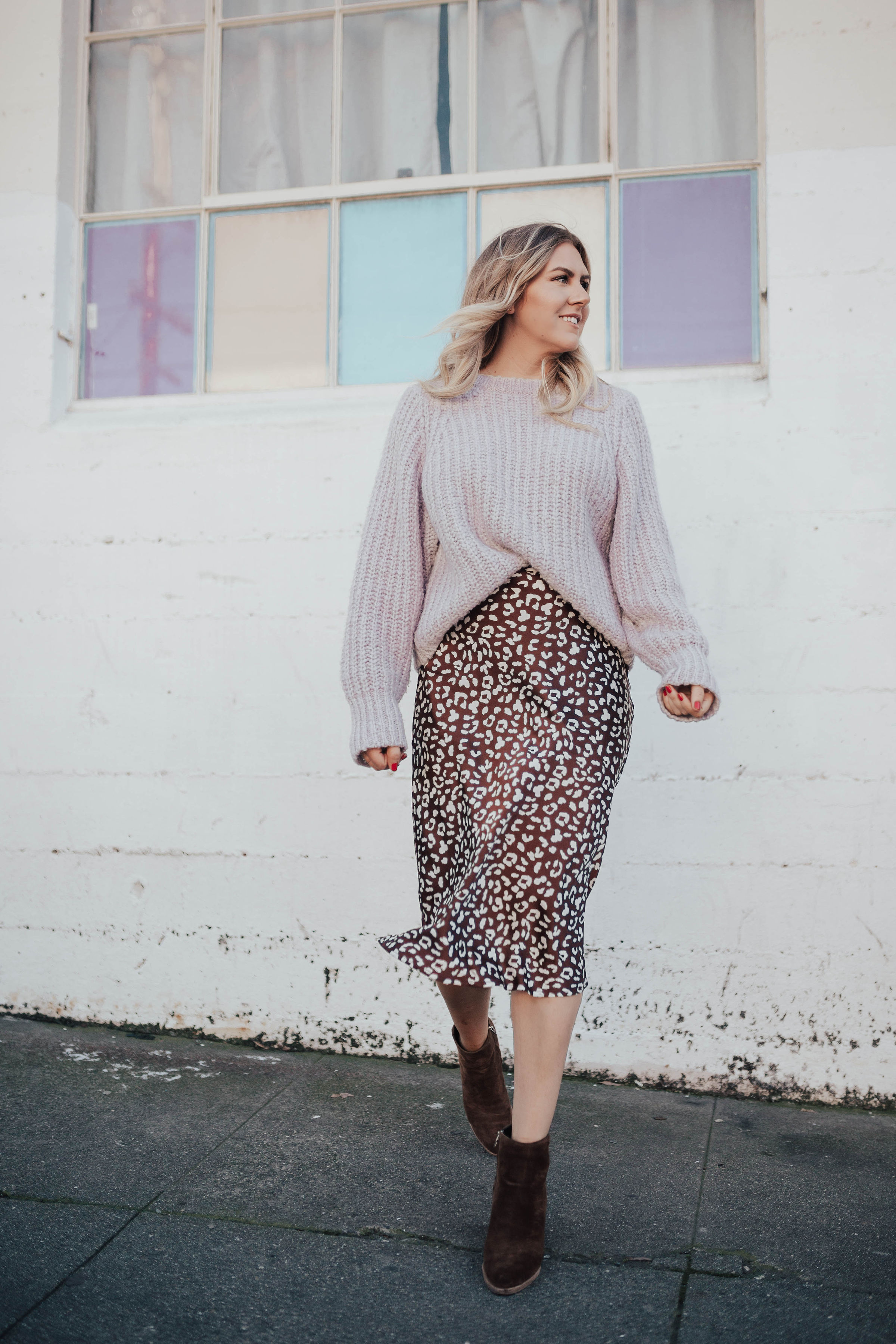via Thea- Valentine's Day: Leopard Skirt, Purple Sweater, Brown Suede boots