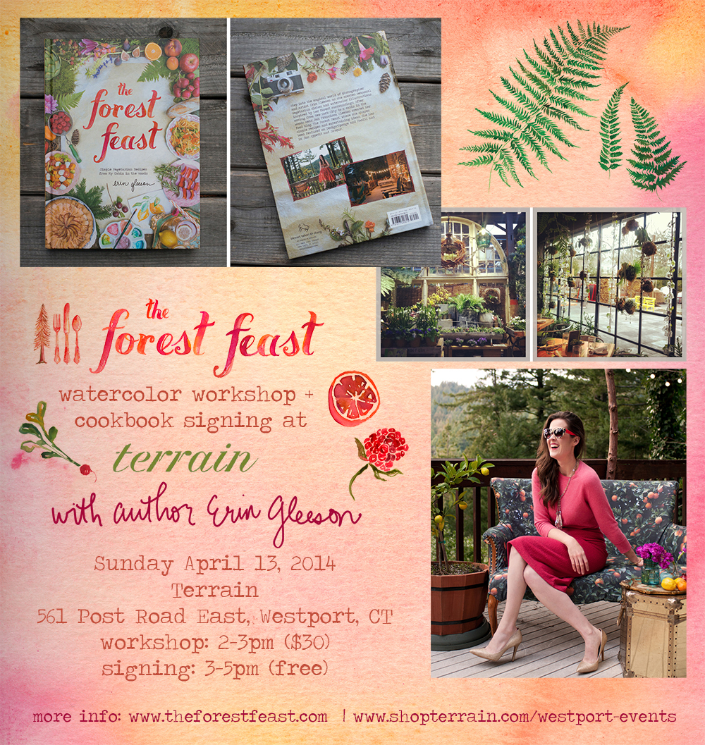Shout out to anyone in Connecticut! I will be doing a cookbook signing and watercolor workshop event on Sunday April 13th in Westport! If you haven't heard of  Terrain , it's an amazing  online shop  /  store  /  cafe  / plant nursery - I visited last spring and basically wanted to live there. It's gorgeous. It's a sister store of Anthropologie, and sells all kinds of amazing home and garden items. The main Terrain is a sort of  farm/shop in Pennsylvania , and this Westport store (that I'll be at) is a stunning newer addition.  WHEN: Sunday April 13, 2014  WHERE: Terrain: 561 Post Road East, Westport, CT 06880  Watercolor Worskhop & recipe demo/tasting, 2-3pm ( $30 tickets here ). We'll be painting little dinner party related items like menu cards, buffet cards, and place setting cards, plus making (and eating!) a new recipe from my book.  Book Signing, 3-5pm ( free and open to the public ) Books will be available for purchase.  ***  If you're in that area and can't make this, the NYC launch party will be on May 8th at the Anthropologie store near Union Sq (16th & 5th Ave) from 5-7pm! There is a list of other signings,  here .