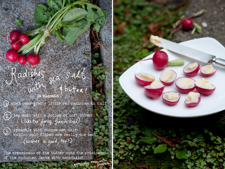 Radishes with butter and salt is classically french, isn't it? It's not for everyone, but I love it. So simple and great with cocktails. Perhaps a pre-Thanksgiving dinner snack for the cooks? The creaminess of the butter cuts the spicy edge of the radish and a smoky fall whiskey cocktail is the perfect accompaniment.  Try  Maldon  Salt if you've never had it. But watch out, you'll be hooked. (And it's pricey!)