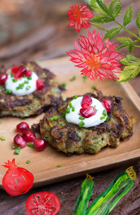 These  Zucchini Latkes  are like little savory zucchini pancakes. Potato is mixed in to make them more filling. You can make mini ones for a party appetizer (or for kids) or larger ones for a dinner entree.
