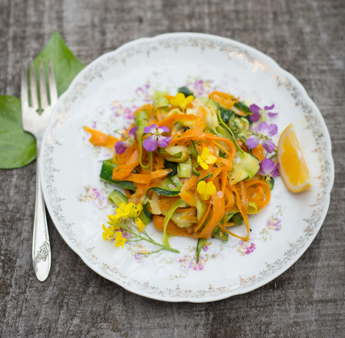 Use a peeler to make this  Carrot-Zucchini Ribbon Salad.  Feel free to skip the flowers if you can't find any. Serve the salad cold, or throw the ribbons in a big skillet for 1 or 2 minutes with some cooked fettuccine pasta and butter for a more filling dish. It's also great with pesto!  * * *  Cheers to late summer cooking & baking!