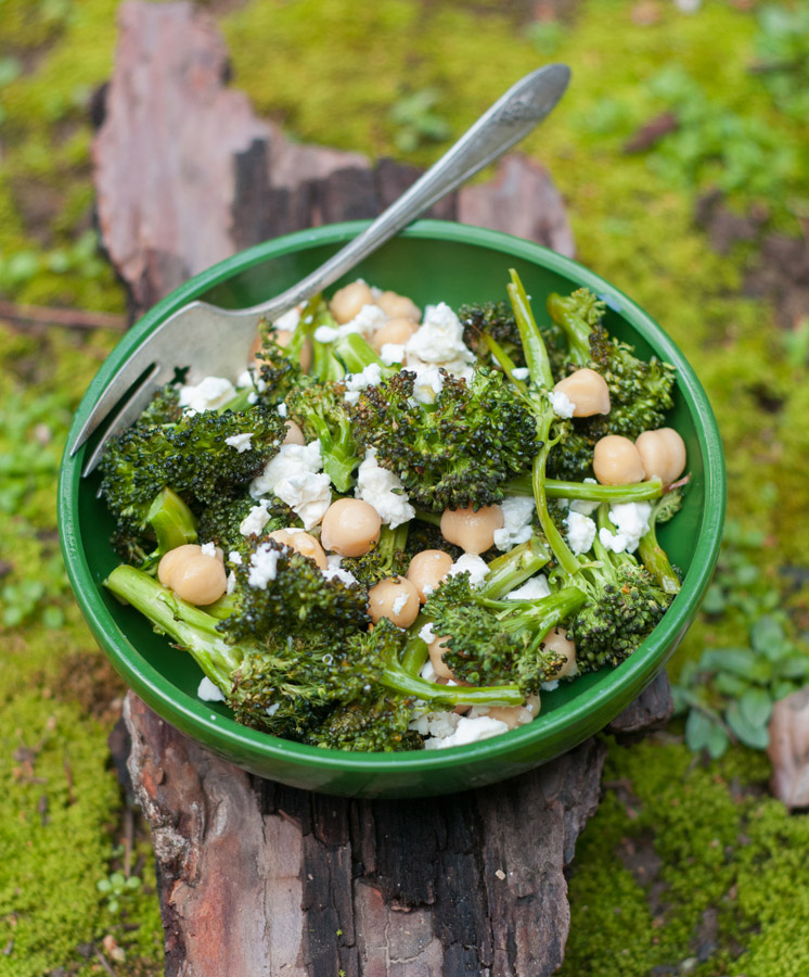 Roasted Broccoli with Feta and Chickpeas