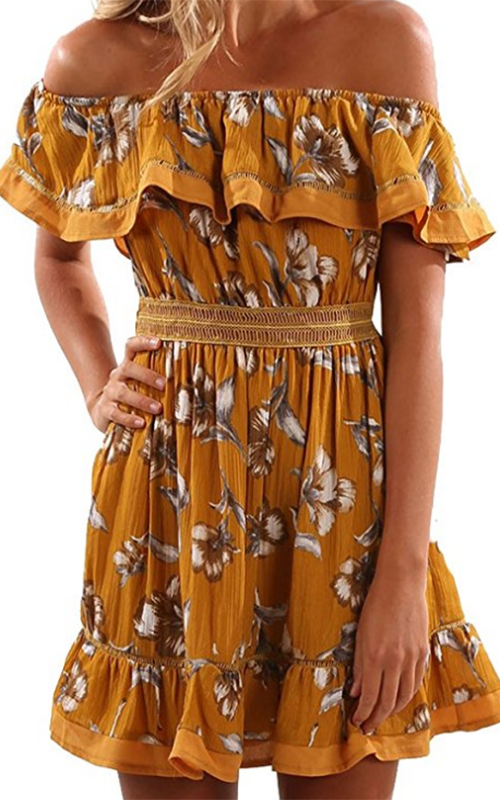 Gamisote Yellow Floral Dress