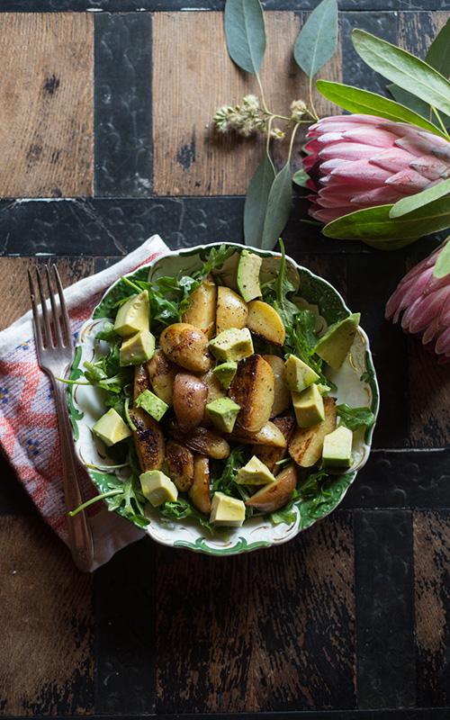 Warm Potato Arugula Salad with Truffle Oil