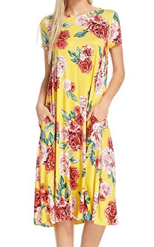 NeeSee Yellow Floral Midi Dress