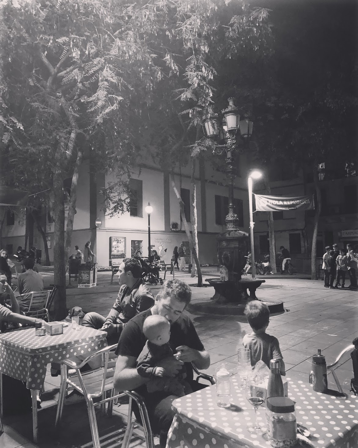 Warm evening in a plaza in our neighborhood for drinks and tapas before dinner.