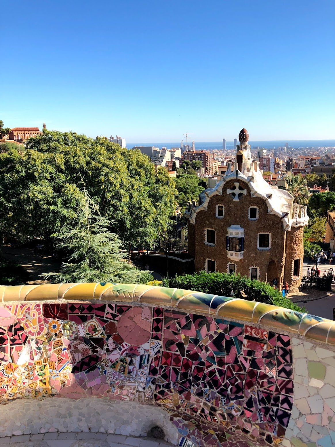 The Gaudi benches at the famous Park Guell