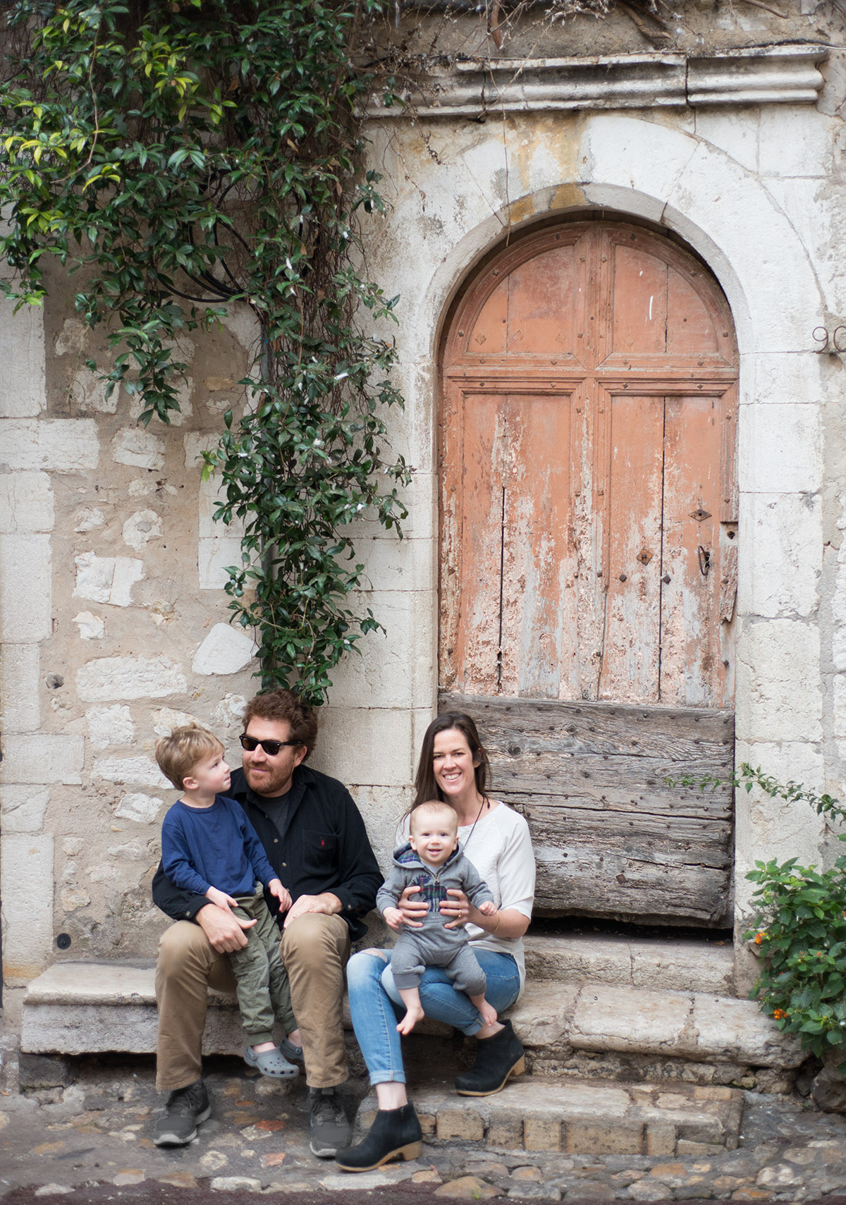 On a day trip to Saint Paul de Vence (Ezra, 3 and Max, 10 months)