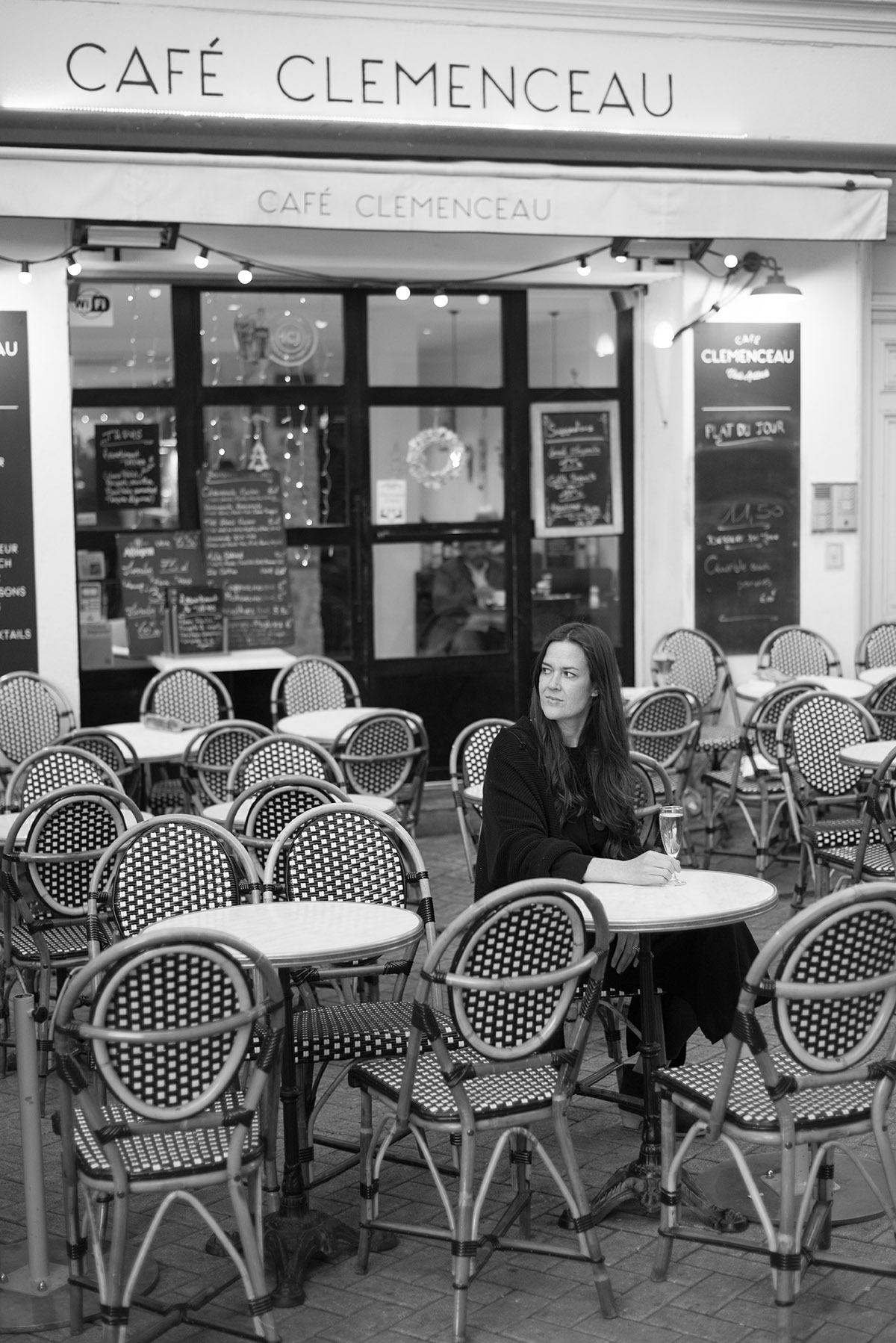 Cocktails outside, looking out onto the main plaza, at Cafe Clemenceau in Antibes.