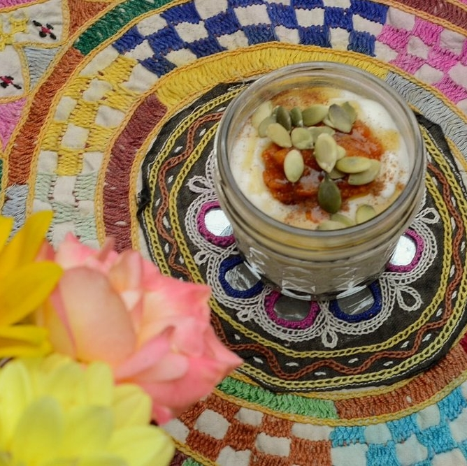 VIDEO:  Maple-Pumpkin Yogurt Parfaits . Fun for kids' lunches or a healthy treat. (1 minute)