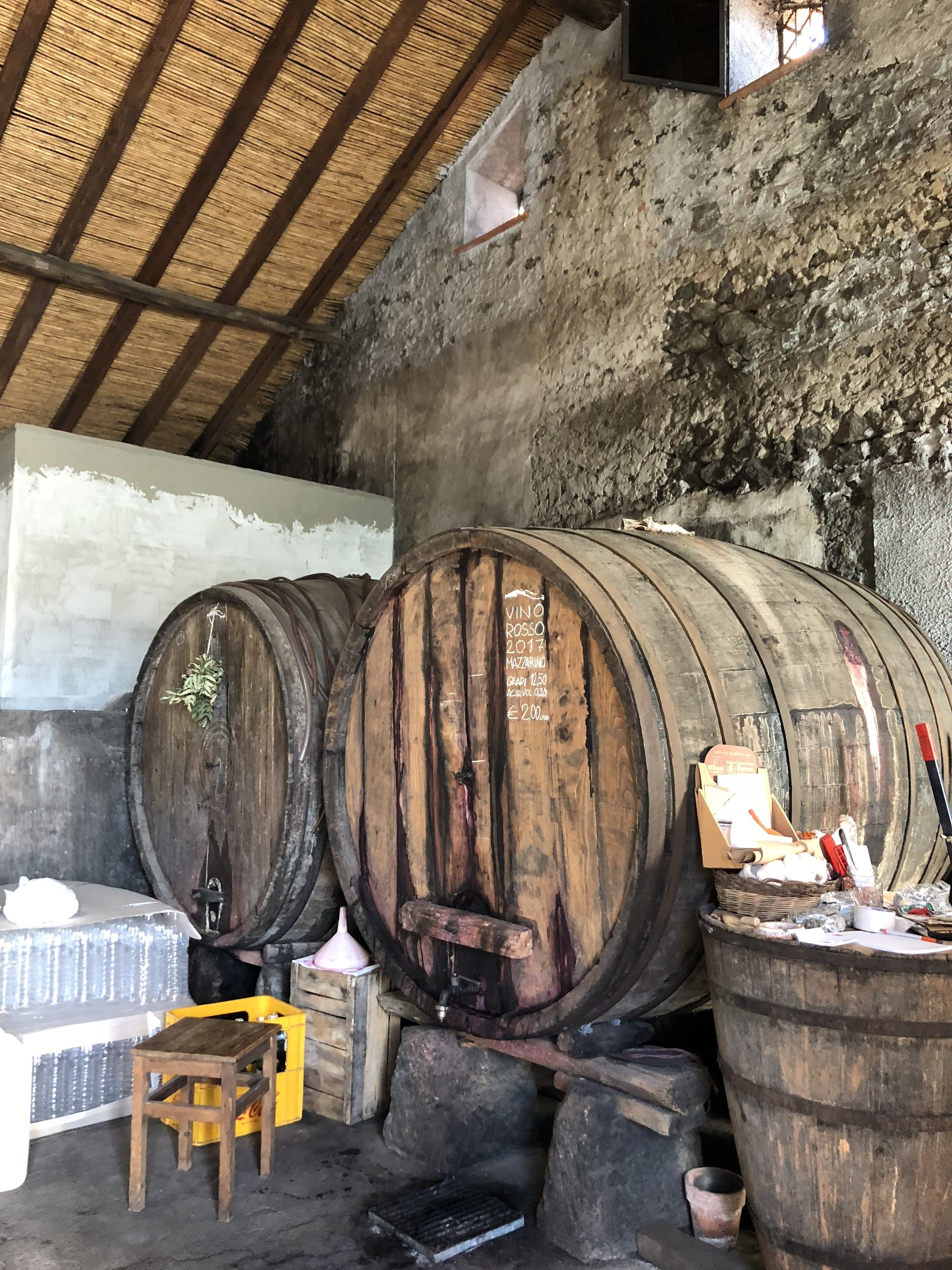 Inside: the wine barrels! There were 3: White, Red and Rosato.
