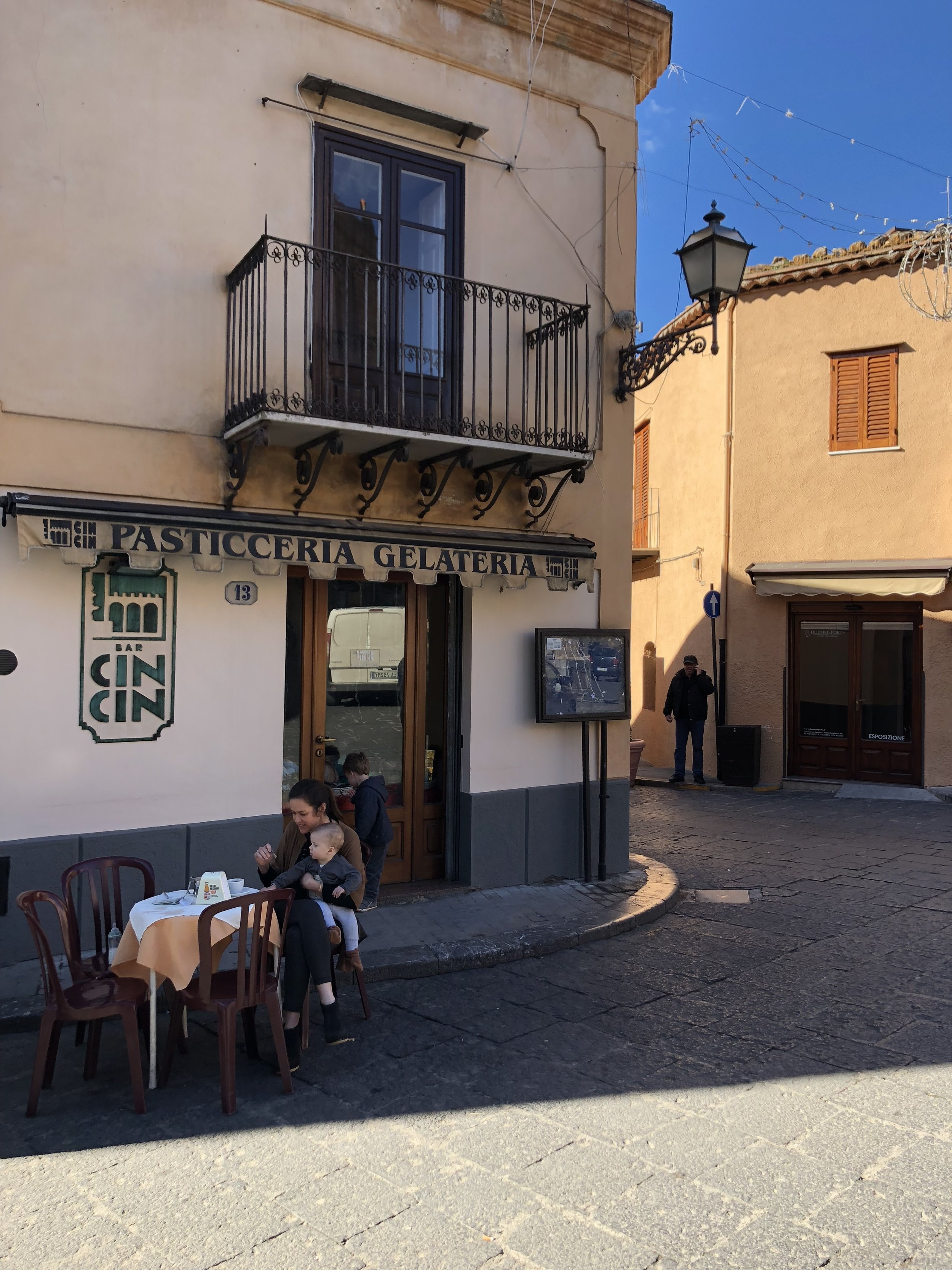 Coffee stop in Castelbuono.