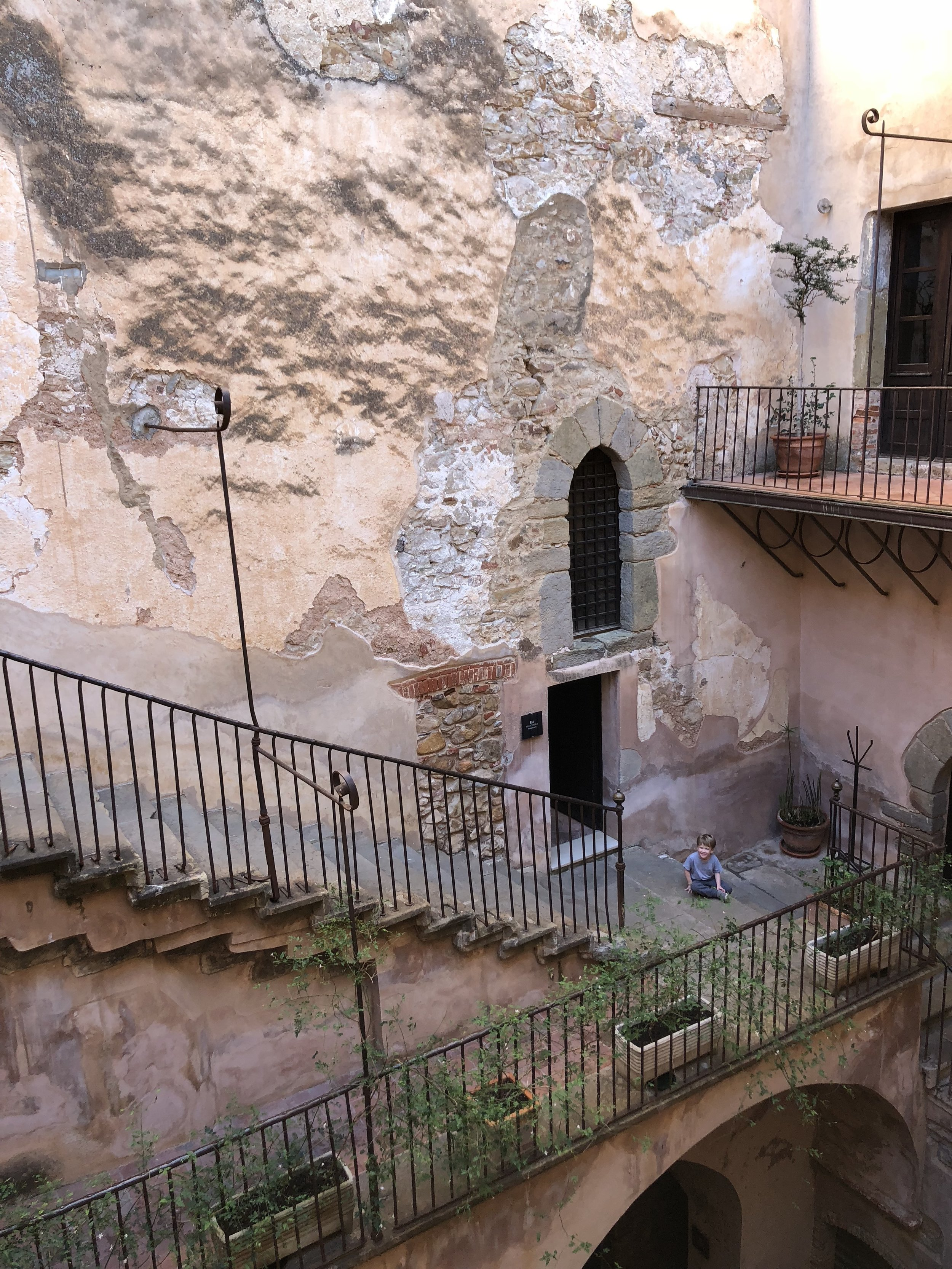 Exploring the castle in Castelbuono.