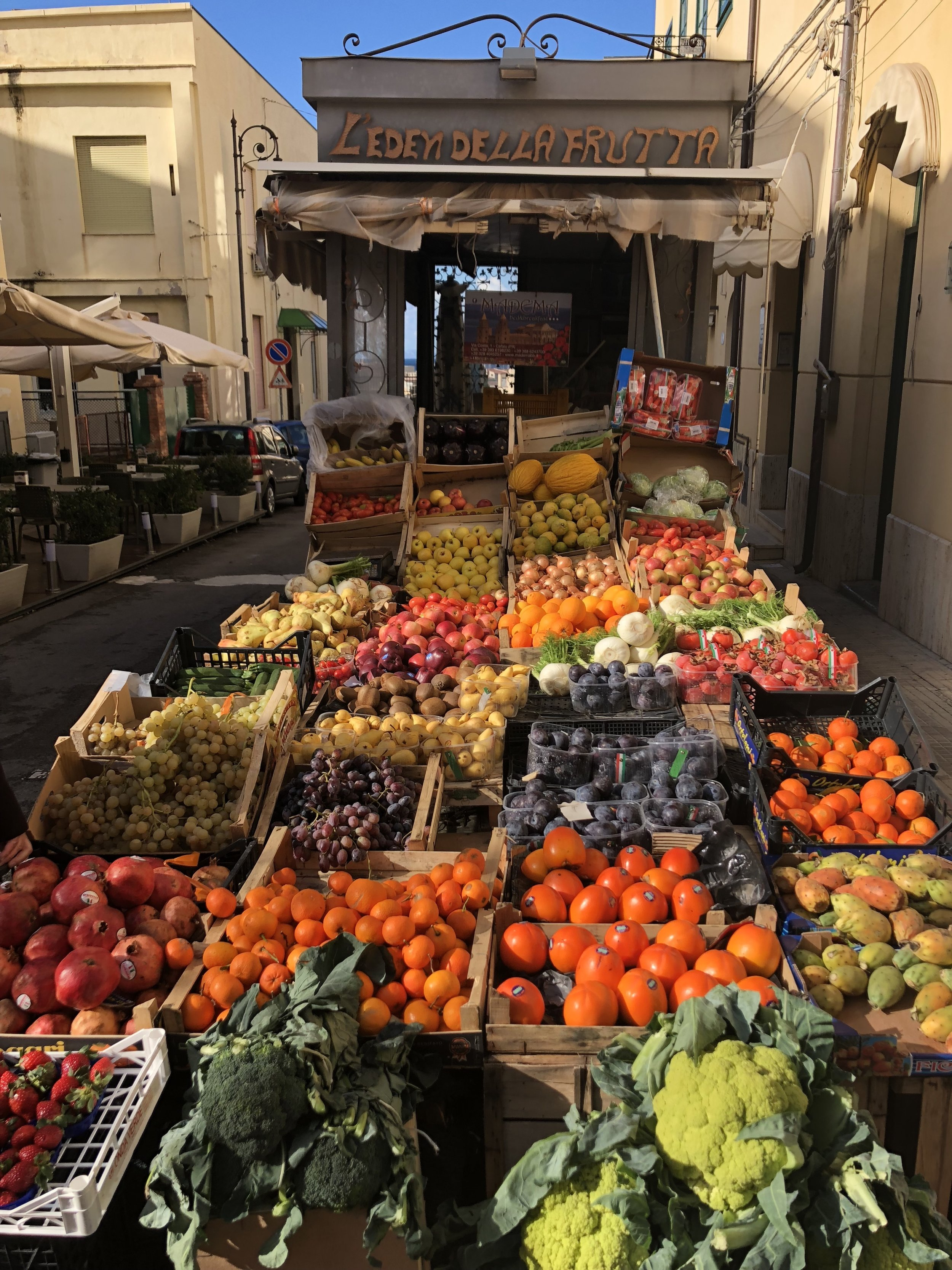 Fruit and vegetable stand in Cefalu.