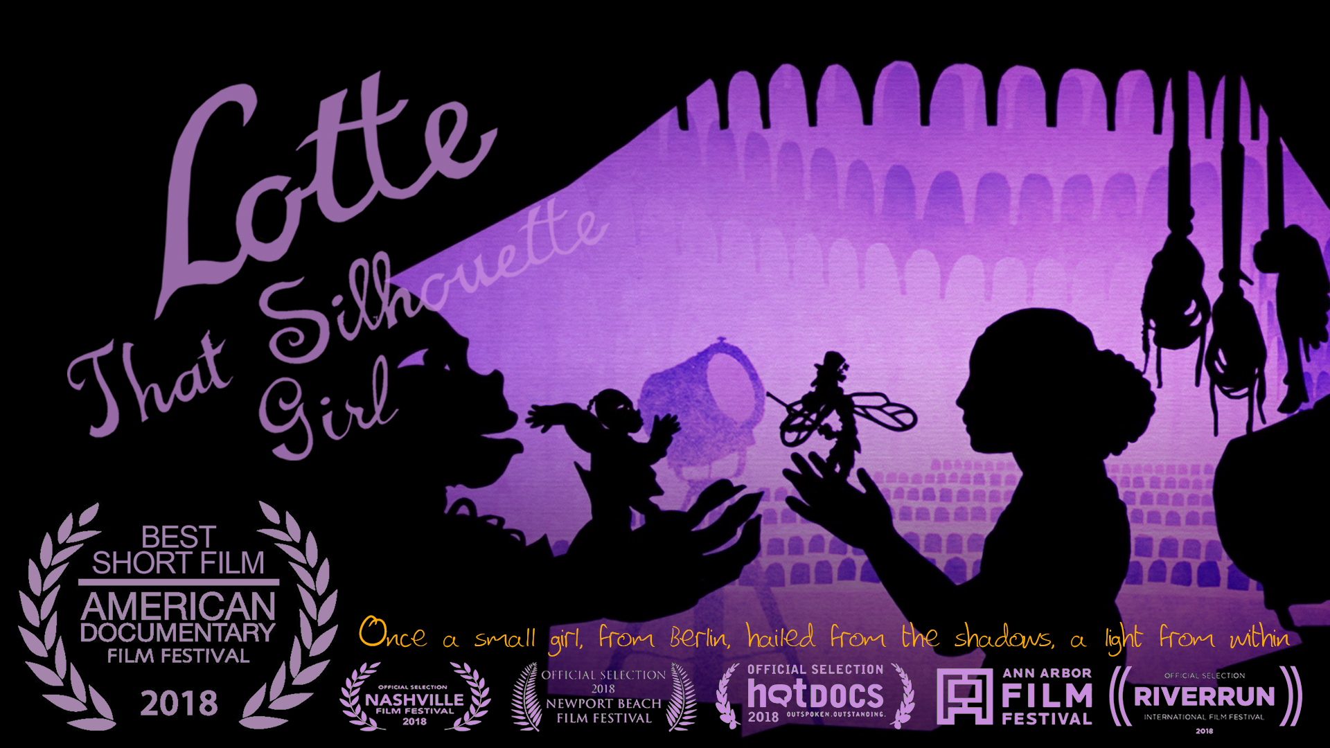 BEST SHORT FILM AT AMDOCS! - 04.25.18LOTTE THAT SILHOUETTE GIRL won Best U.S. Short at the AmDocs. MORE