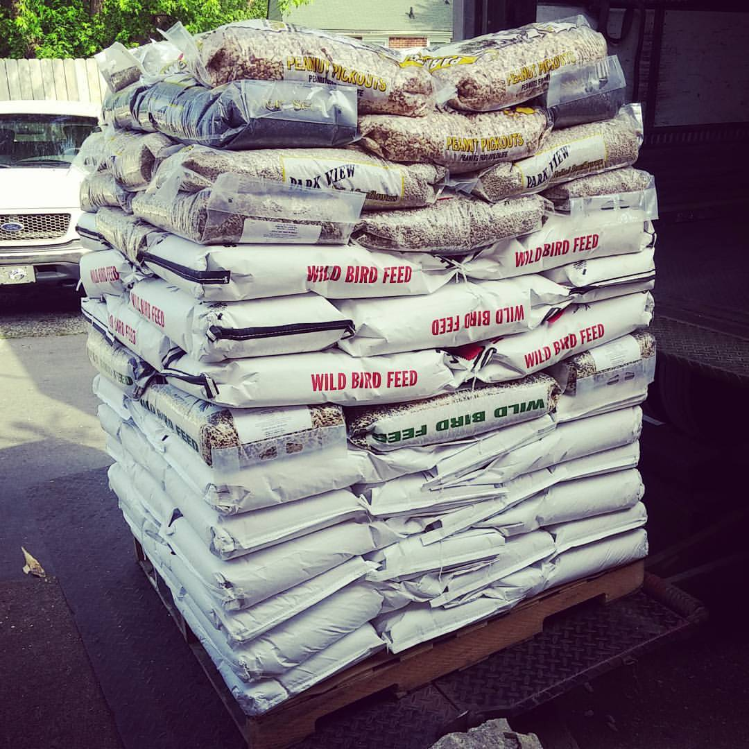 Typical Pallet on seed delivery day.