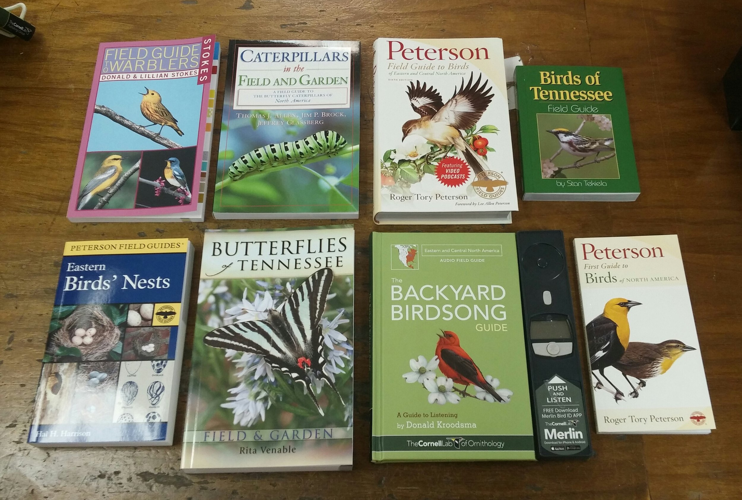 Field guides on birds, bugs, butterflies, and wildflowers.