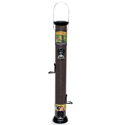 Droll Yankees Onyx clever clean nyjer feeder offers a quick release base and metal seed ports for durability.