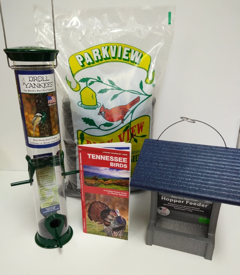 Choose between a hopper or tube style feeder, a bag of sunflower or safflower, and a Tennessee folding guide for $39.