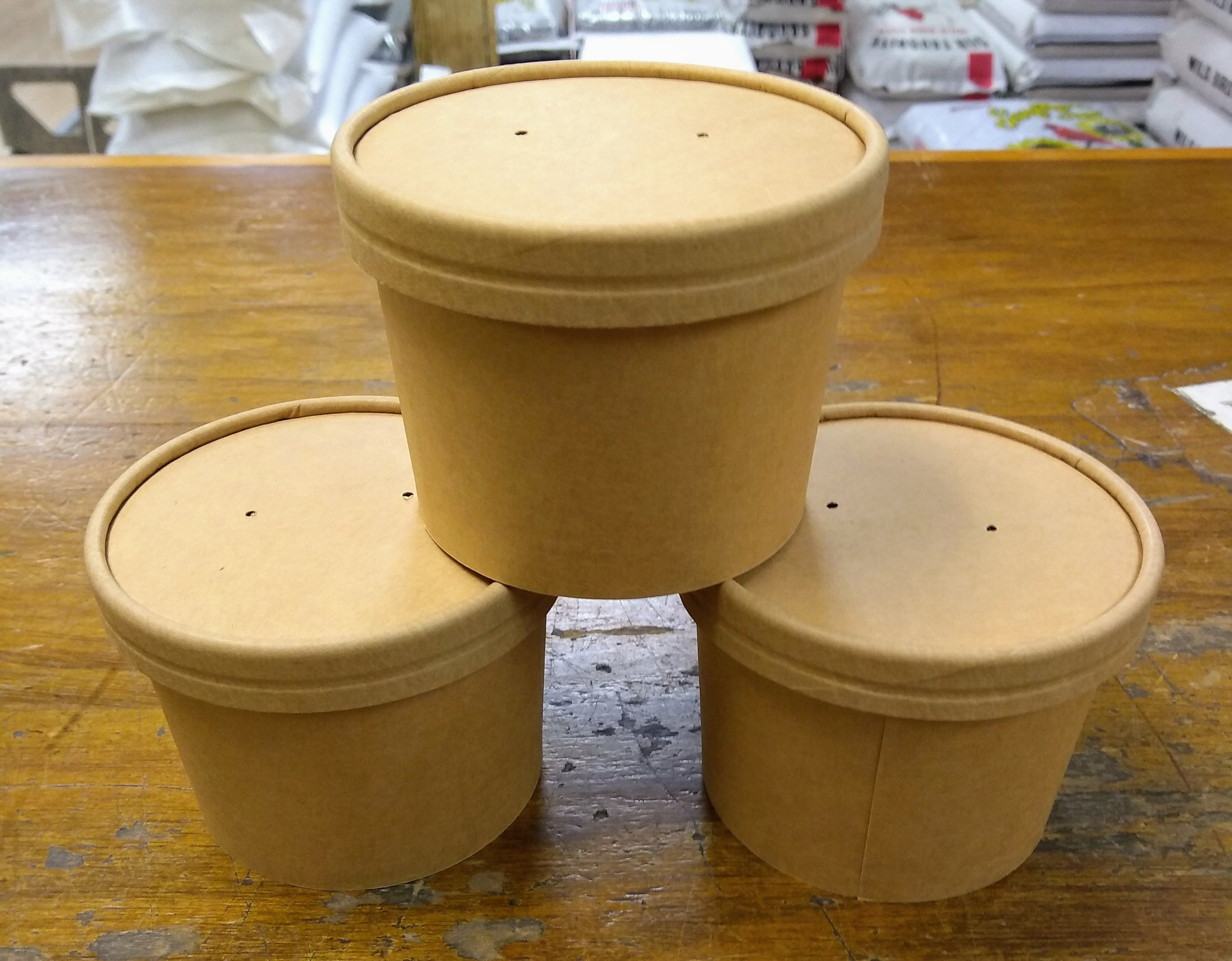 New biodegradable mealworm containers.