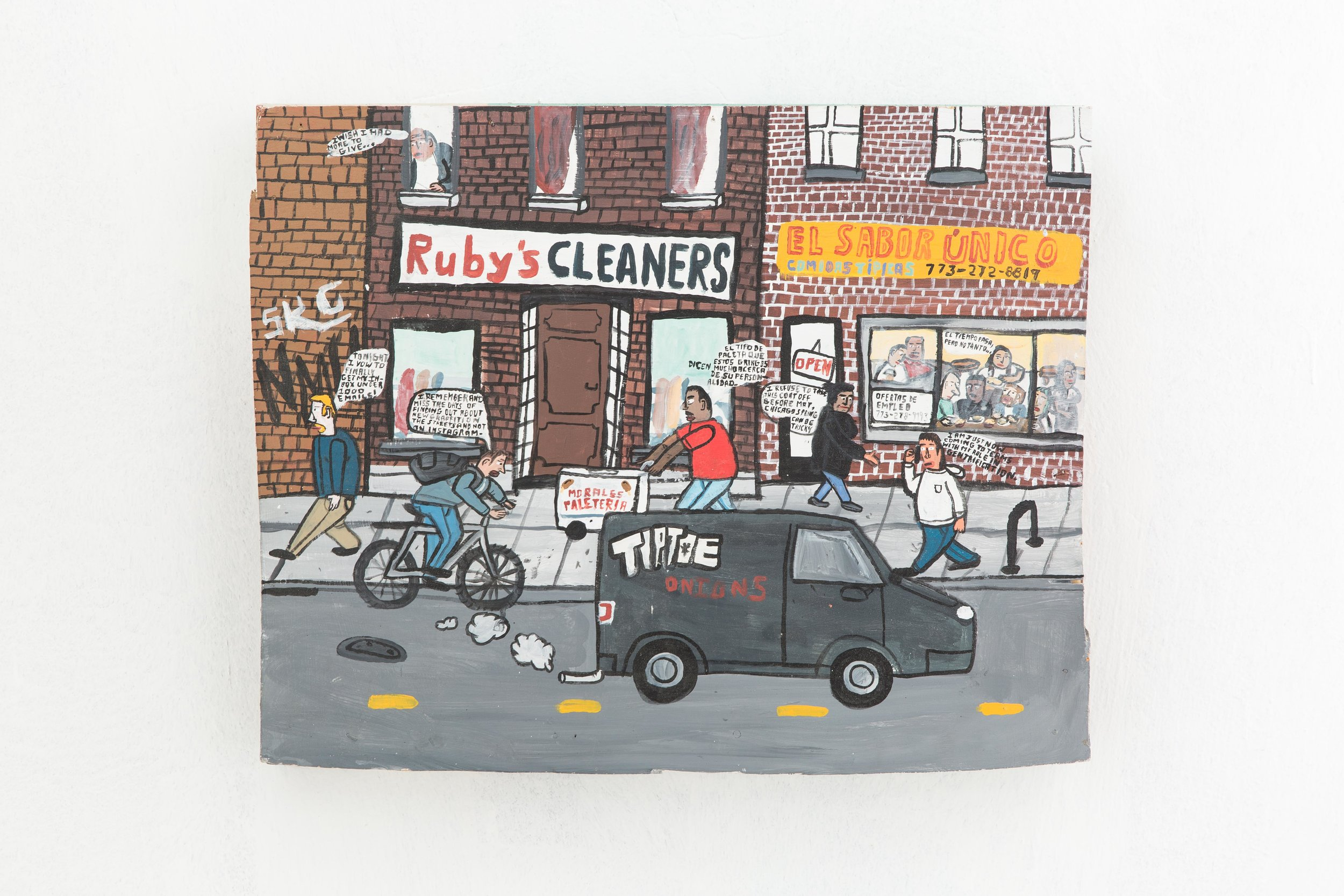Ruby's Cleaners (Time Passes, But Not So Much) , 2017. Acrylic on wood panel, 22 x 18 inches