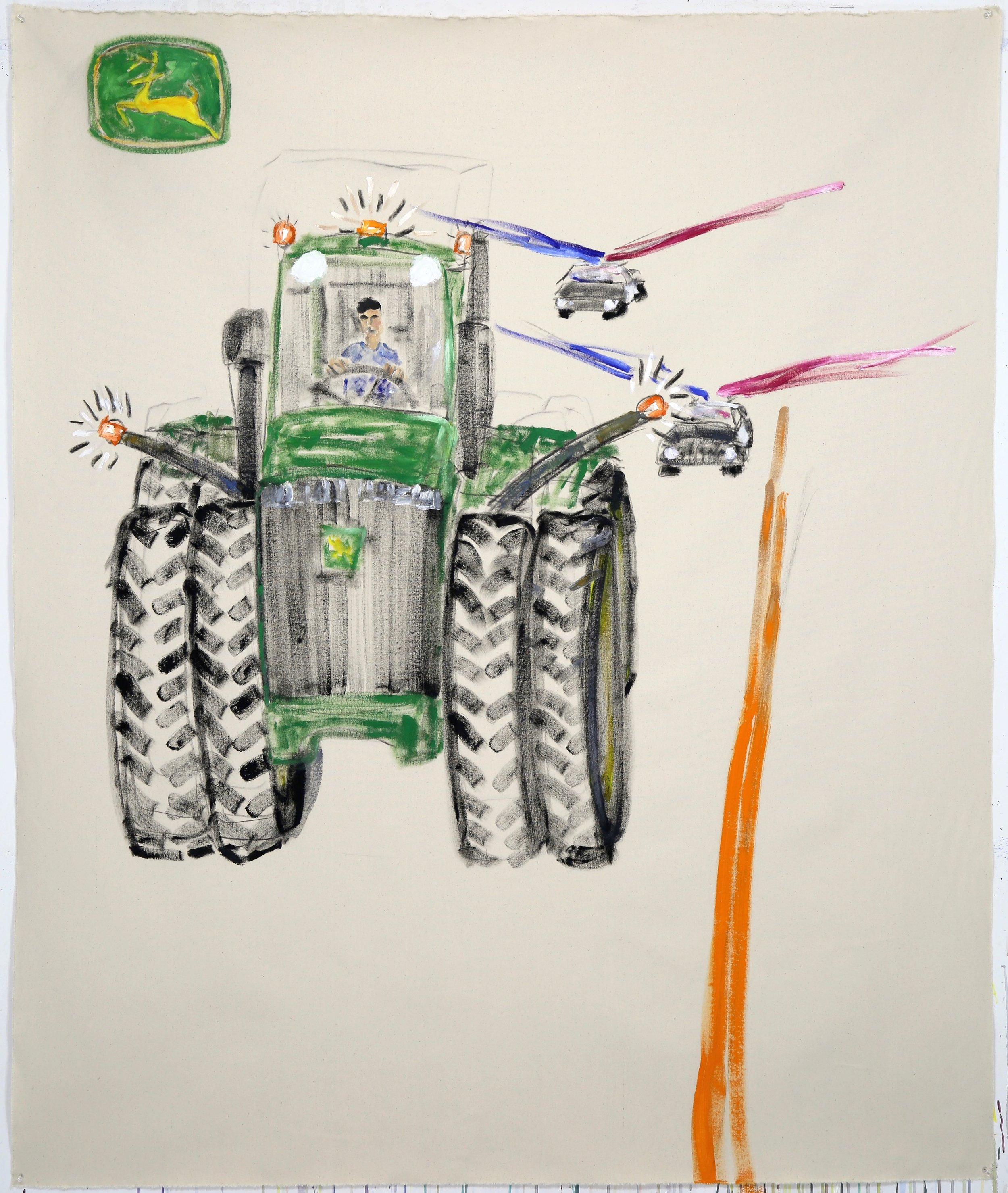 Pull That John Deere Over, Boy. Oil on raw canvas, 72 x 60 inches.