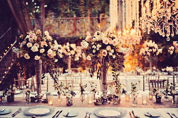 Silver based centerpieces wiht blush garden floral accents