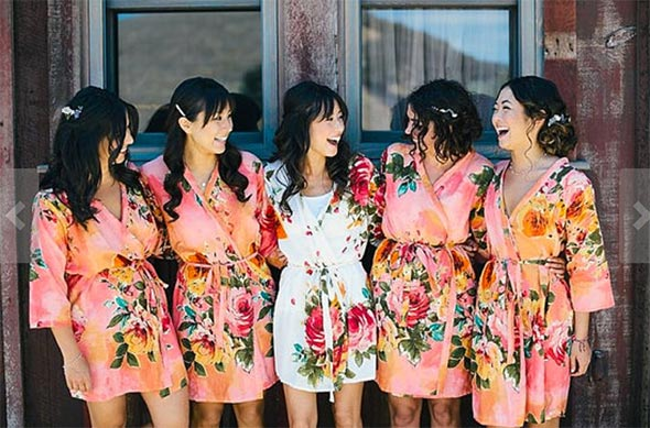 Brides and Bridesmaids in Colorful Robes for Getting Ready on Wedding Day, Bridesmaids Gifts