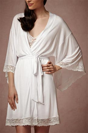Bridal Robe in white silk lace by BHLDN