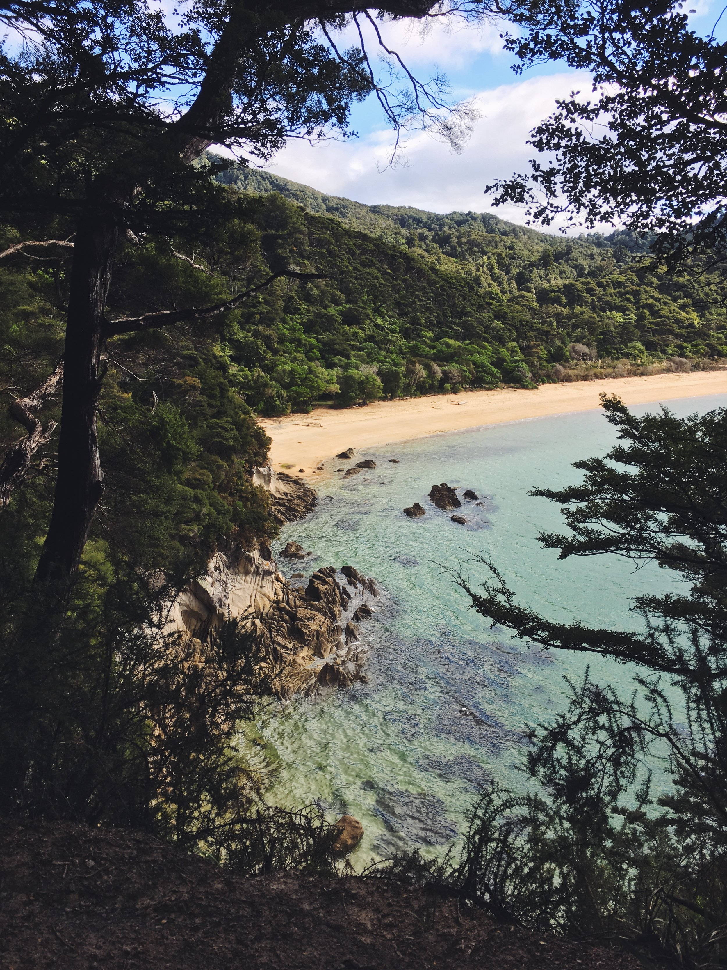 The first views of Onetahuti Beach, the final destination.