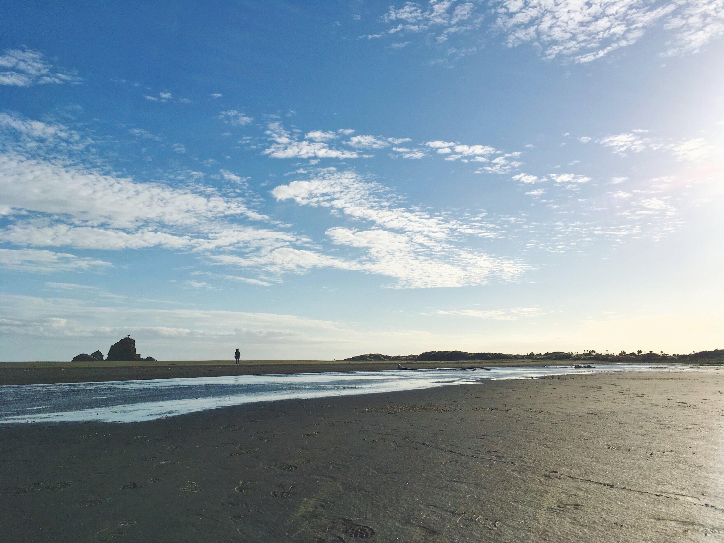 Whatipu Beach and Lindsay the tiny human