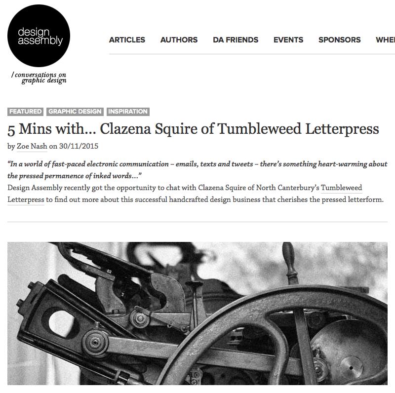 Tumbleweed Letterpress article link