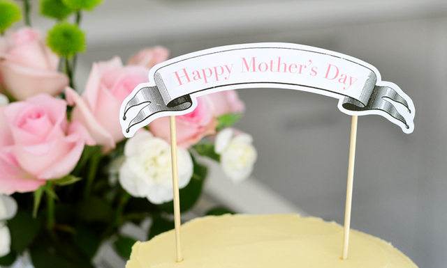 Mothers Day Cake Banner Topper Free Printable from TumbleweedPress.Co