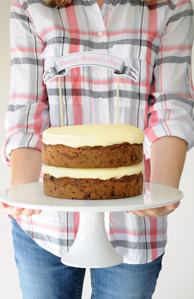 Mothers Day Carrot Cake on stand with Free Printable cake banner by Tumbleweed Press