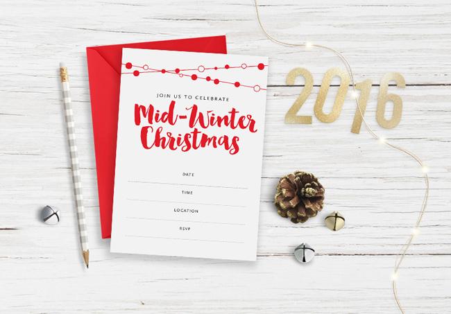 Mid-Winter Christmas Invitation Free Printable by TumbleweedPress.co
