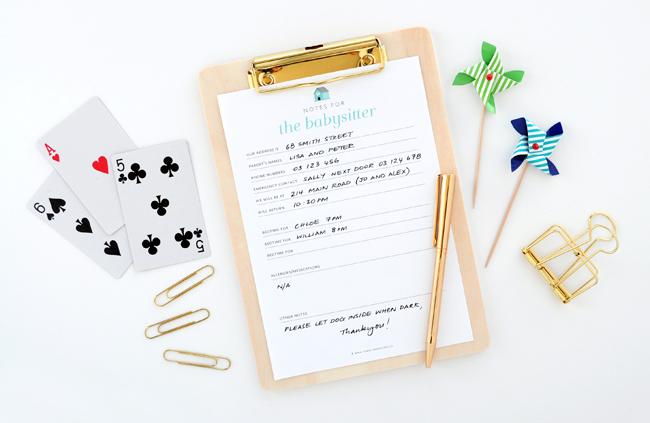 Notes for the babysitter free printable