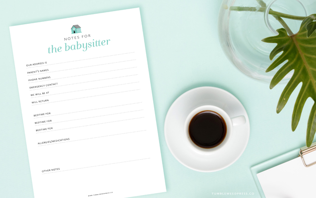 Notes for the Babysitter Printable by Tumbleweed Press