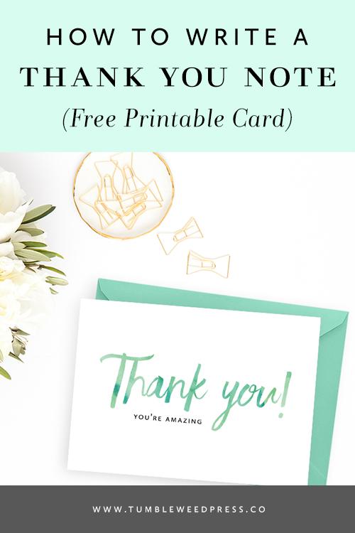 Free Printable Thank You Card by TumbleweedPress.Co
