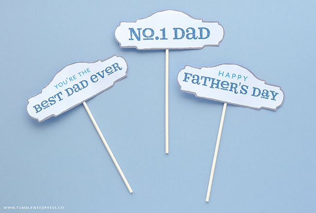 Free Printable Father's Day Cake Topper by TumbleweedPress.Co